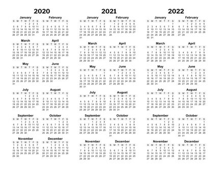 Image of three year calendar
