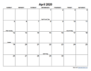 A standard monthly calendar with holidays