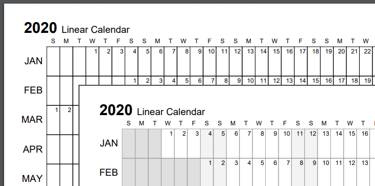 Screenshot comparison of a black & white calendar versus standard grayscale