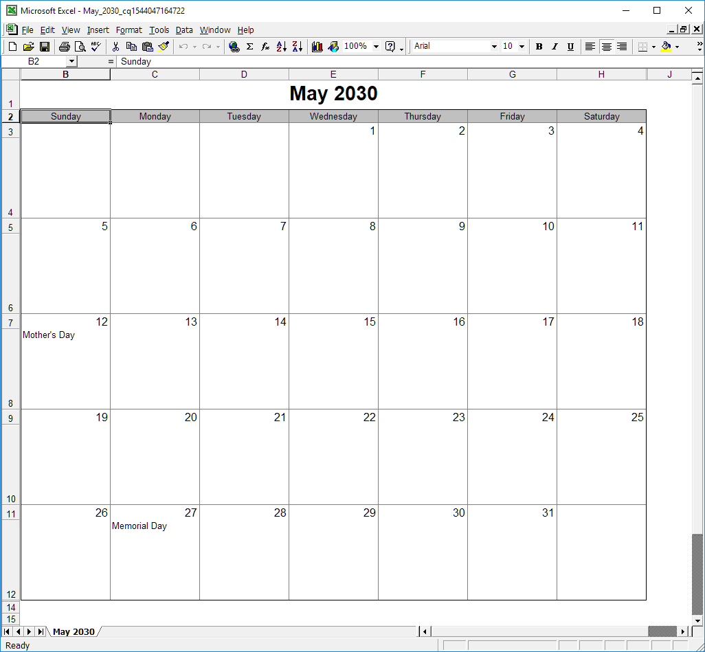 Screenshot of calendar inside Microsoft Excel application