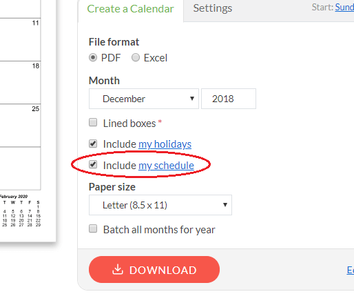 Screenshot of schedule include option on download form