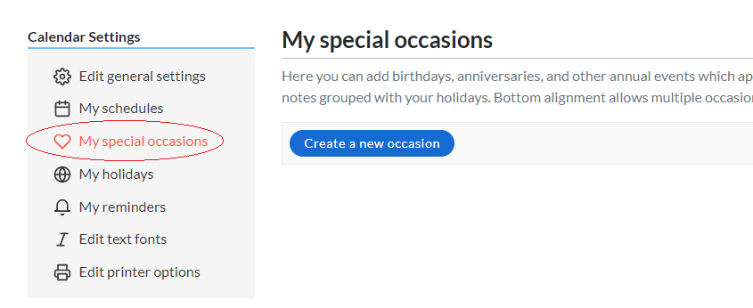 Screenshot of special occasions screen