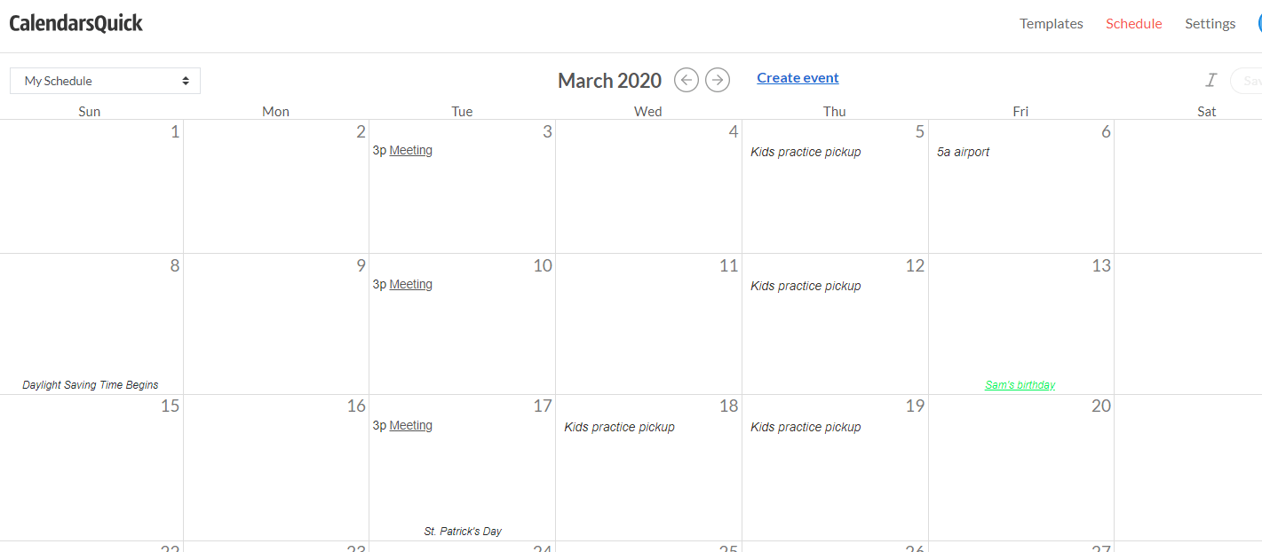 Screenshot of web calendar with events