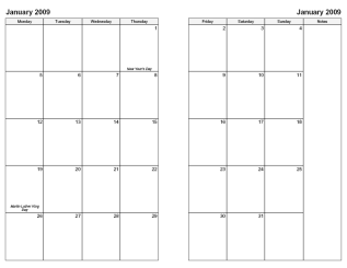 2-Page Monthly Calendar