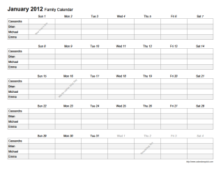 Printable Monthly Family Planner