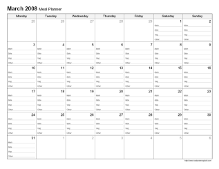 Printable Monthly Meal Planner - CalendarsQuick
