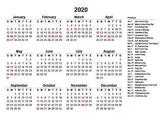 Printable Yearly Calendars with Holidays