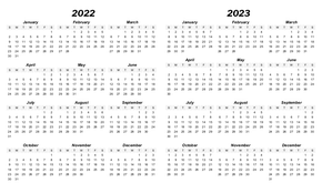 Index Card 2-Year Calendar