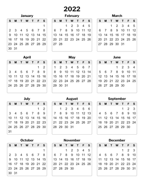 Full-Page Yearly Printable Calendar