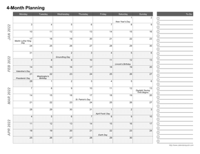 Create 4-Month, 5-Month, and 6-Month Calendars