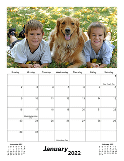Screenshot of monthly calendar with a photo