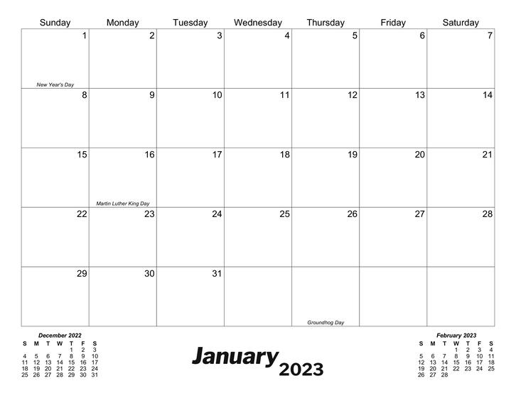 classic monthly printable calendar