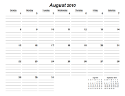 Lined Monthly Printable Calendar