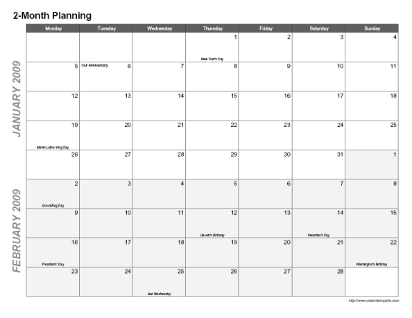 Printable 2-Month Calendar - CalendarsQuick