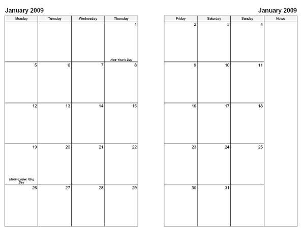 Free printable double month calendars search results for Two page monthly calendar template