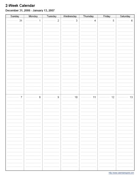 Printable 2 week calendar calendarsquick for 2 page weekly calendar template