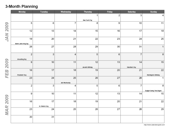 Printable 3-Month Calendar - CalendarsQuick