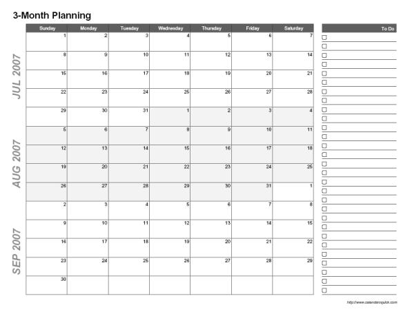 Printable 3-Month Calendar - CalendarsQuick