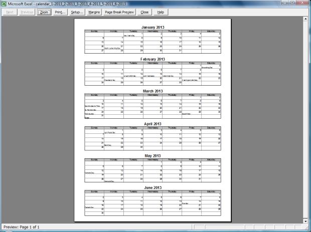 printable 6-month calendar