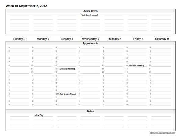 Custom Weekly Printable Calendar   CalendarsQuick XFctMknE