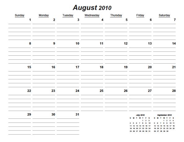 Printable Lined August 2016 Calendar | Calendar Template 2016