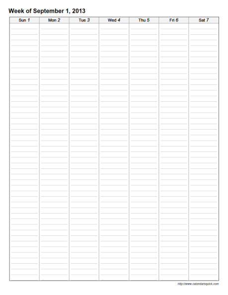 Weekly Calendar Vertical : Lined weekly printable calendar calendarsquick