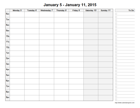 Printable Week Calendar With Time Slots Weekly calendar